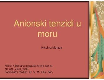Anionski tenzidi u moru, Nikolina Mataga - PBF