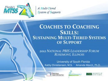 Coaches to Coaching Skills: Sustaining Multi-Tiered Systems of ...
