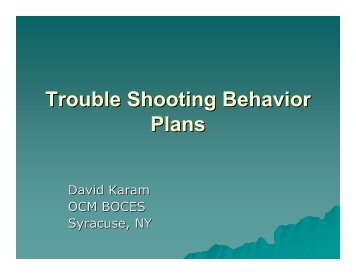 Trouble Shooting Behavior Plans - PBIS