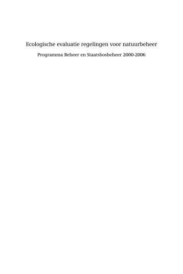 Ecologische evaluatie regelingen voor natuurbeheer - Wageningen ...