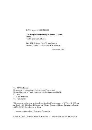 Targets IMage Energy Regional (TIMER) Model, Technical ...