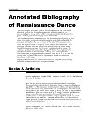 Annotated Bibliography of Renaissance Dance - Shadow Island ...