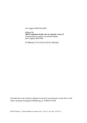 Bijlagen bij: MOVE nationaal Model voor de Vegetatie versie 3.2 ...