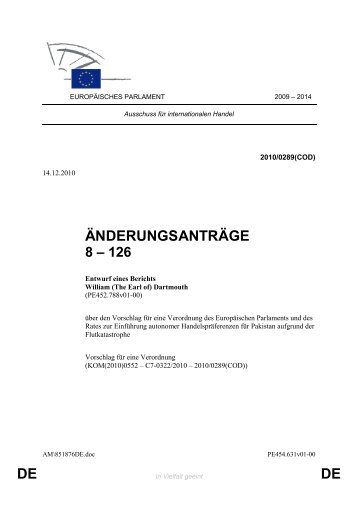 DE DE ÄNDERUNGSANTRÄGE - Europa