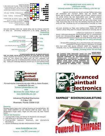 RAMPAGE™ BEDIENUNGSANLEITUNG - PBportal.de
