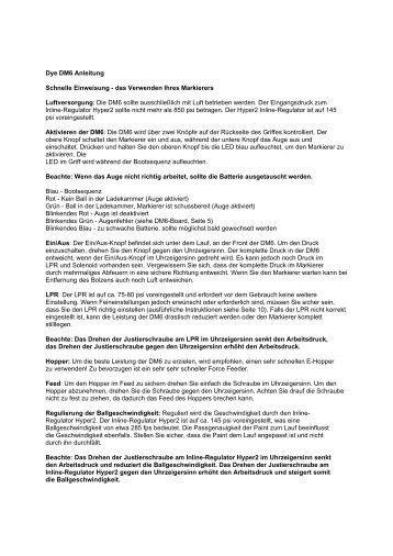 Dye DM6 Anleitung Schnelle Einweisung - das ... - PBportal.de