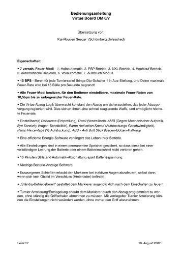 Bedienungsanleitung Virtue Board DM 6/7 - PBportal.de