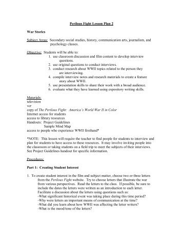 Perilous Fight Lesson Plan 2 War Stories Subject Areas ... - PBS