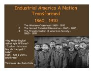 Transformation of American Society Power Point Notes