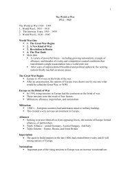 The World at War Unit Notes