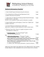 Secondary Medical Forms - Phillipsburg School District