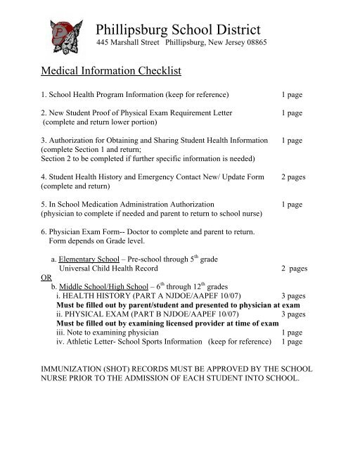 Med School Update Letter.Secondary Medical Forms Phillipsburg School District