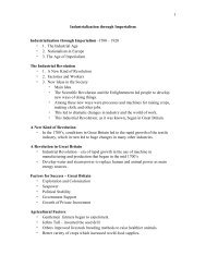 Industrialization and Nationalism Unit Notes