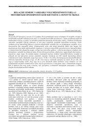 relacije između varijabli - Acta Kinesiologica