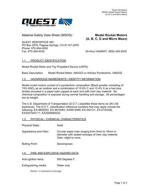 Material Safety Data Sheet (MSDS): Model Rocket Motors (A, B, C, D