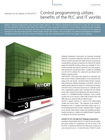 Interview on the release of TwinCAT 3 - PC-Control