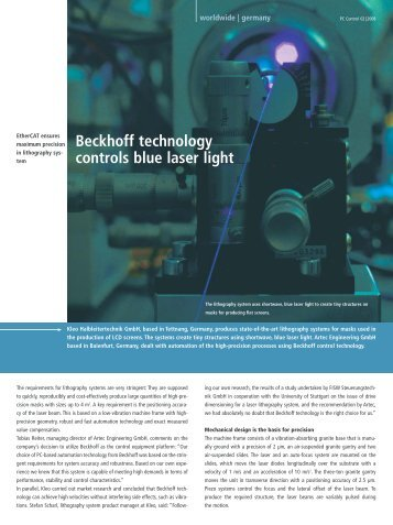 Beckhoff technology controls blue laser light - PC-Control