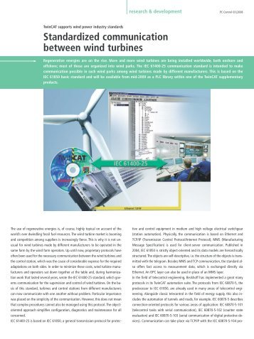 TwinCAT supports wind power industry standards - PC-Control