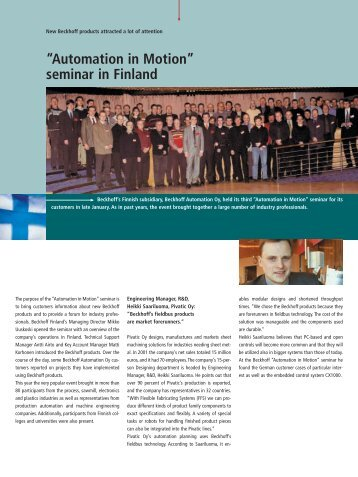 """""""Automation in Motion""""seminar in Finland - PC-Control"""