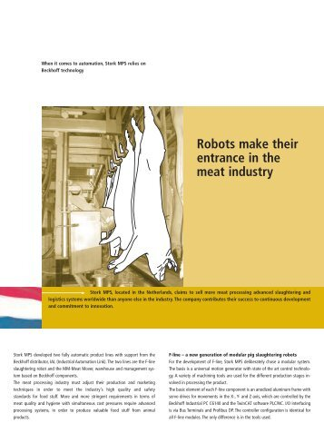 Robots make theirentrance in themeat industry - PC-Control