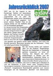 Jahresrückblick 2007 - Deutscher Alpenverein Sektion Kaufering