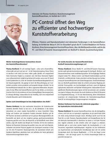 Interview mit Thomas Kosthorst, Branchenmanagement ... - PC-Control