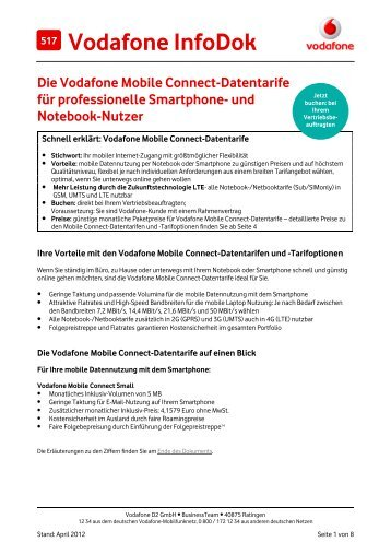 Infodok 517: Die Vodafone Mobile Connect-Datentarife f