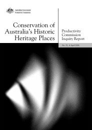 Conservation of Australia's Historic Heritage Places - Productivity ...
