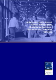 Submission to the Annual Review of Regulatory Burdens on ...
