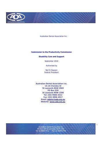 Submission 552 - Australian Dental Association Inc - Productivity ...