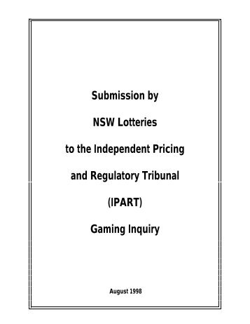 Submission by NSW Lotteries to the Independent Pricing and ...