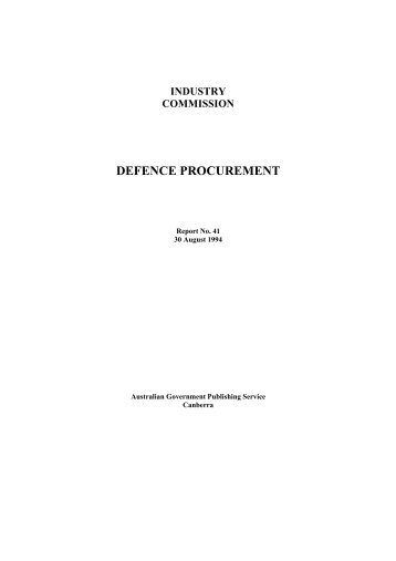 DEFENCE PROCUREMENT - Productivity Commission