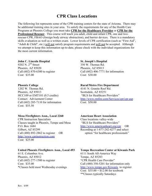 Cpr Class Locations Phoenix College