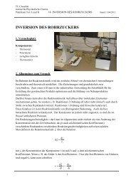 INVERSION DES ROHRZUCKERS - Institut für Physikalische Chemie