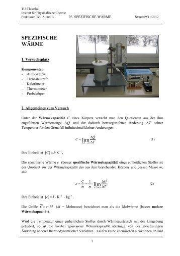 Kalorimeter Spezifische W