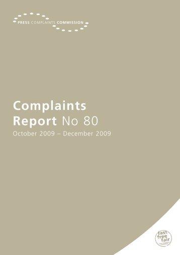 Complaints Report No 80 - Press Complaints Commission