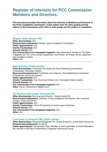 Register of interests for PCC Commission Members and Directors.