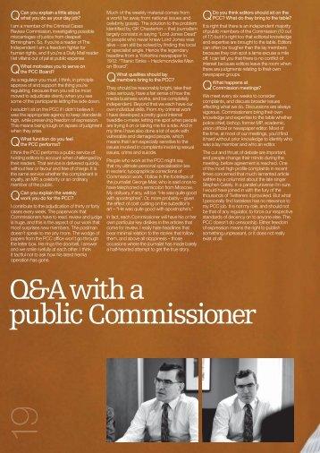 Q&A with a public Commissioner - Press Complaints Commission