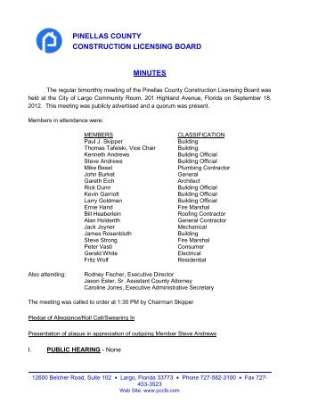 September 18, 2012 Meeting Minutes - Pinellas County ...