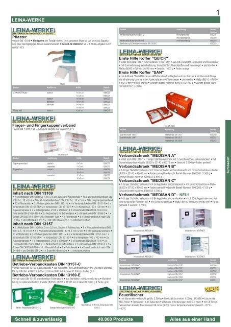 Leina-Werke Betriebsverbandkasten DIN 13157-C mit Wandhalterung Gr/ün