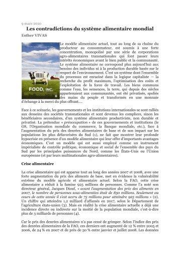 Les contradictions du système alimentaire mondial - PCF Bassin d ...
