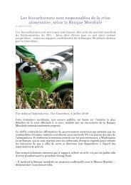 Les biocarburants sont responsables de la crise alimentaire, selon ...