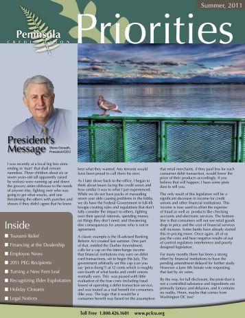 Summer 2011 Newsletter - Peninsula Credit Union