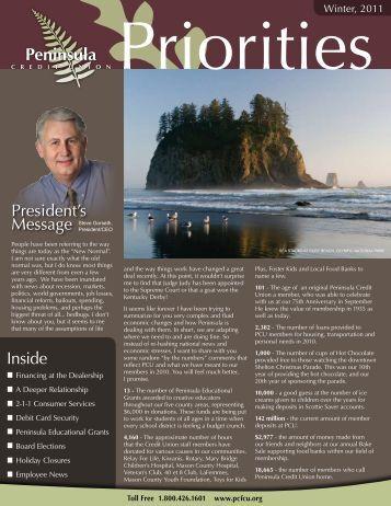 Winter 2011 Newsletter - Peninsula Credit Union