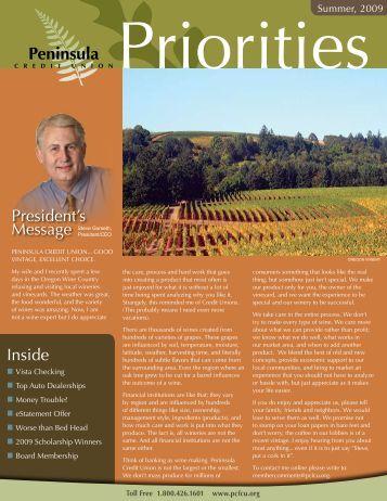 Summer 2009 Newsletter - Peninsula Credit Union