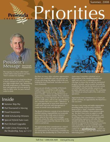 Summer 2008 Newsletter - Peninsula Credit Union