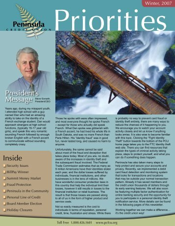 Winter 2007 Newsletter - Peninsula Credit Union