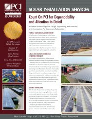 SOLAR INSTALLATION SERVICES - Performance Contracting Inc.