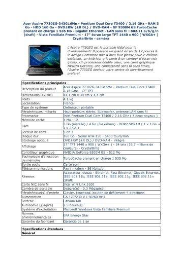 Acer Aspire 7730ZG-343G16Mn - Pentium Dual Core T3400 - Pcprice