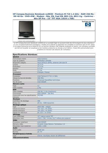 HP Compaq Business Notebook nx9030 - Pentium M 710 ... - Pcprice